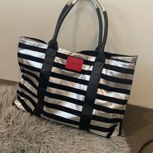 Victoria Secrets Big Duffle Bag silver stripe tote
